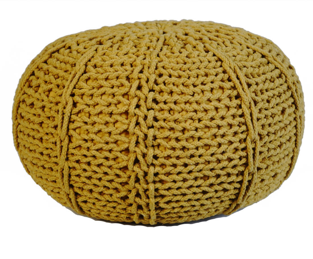 Pletený Puf Knitty Design zluta