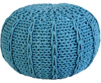Pletený Puf Knitty Design tyrkysova