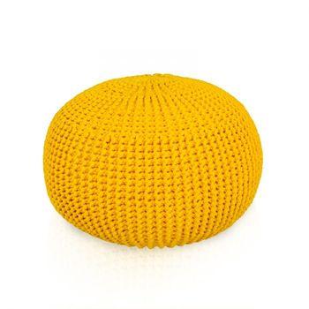 Pletený Puf Knitty Premium zluta