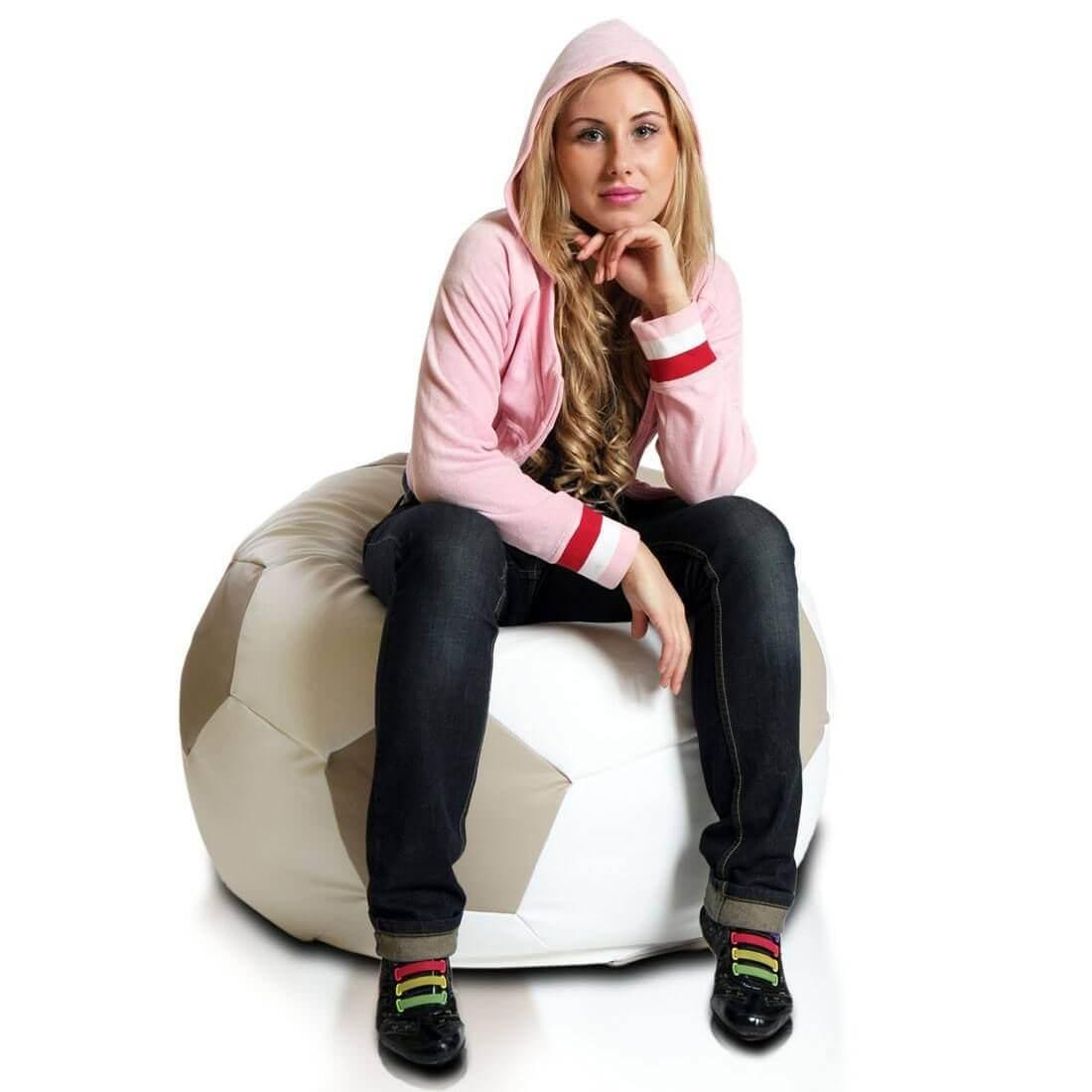 Primabag sedací vak míč FOTBAL velký béžová