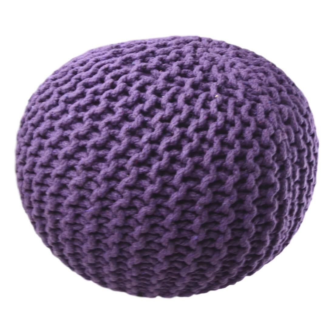 Pletený Puf Knitty fialova